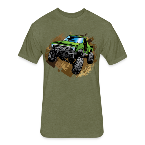 green off-road truck - Fitted Cotton/Poly T-Shirt by Next Level