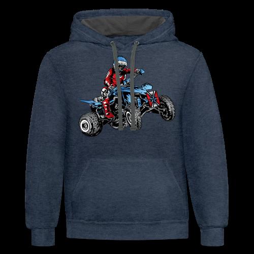 Blue Quad Rider Shirt  - Contrast Hoodie