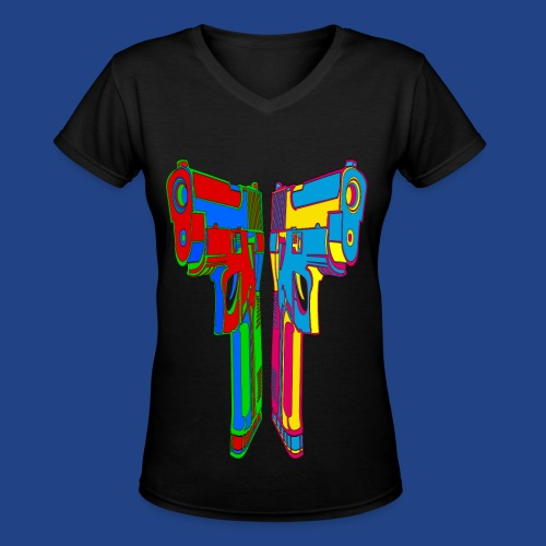 Pop Art Pistols - Women's V-Neck T-Shirt