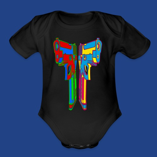 Pop Art Pistols - Organic Short Sleeve Baby Bodysuit