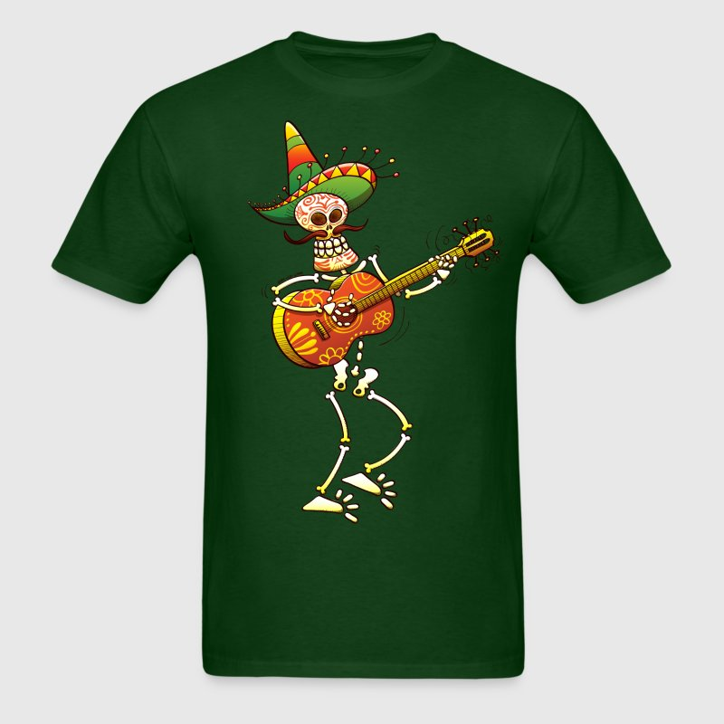 Mexican Skeleton Playing Guitar T-Shirts - Men's T-Shirt
