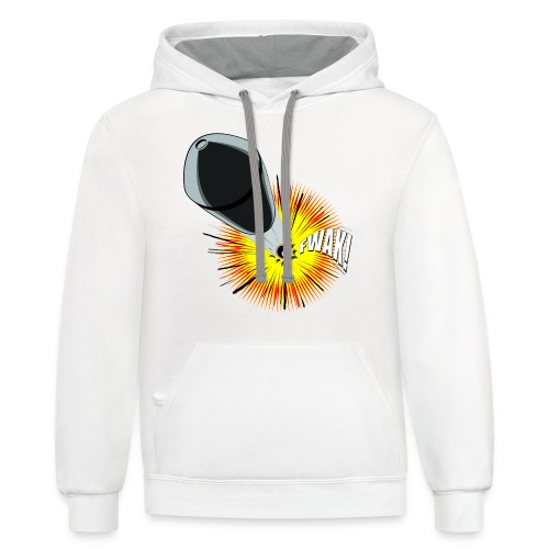 Gunshot, 3D comicbook, bullet hole, chest t-shirt - Contrast Hoodie