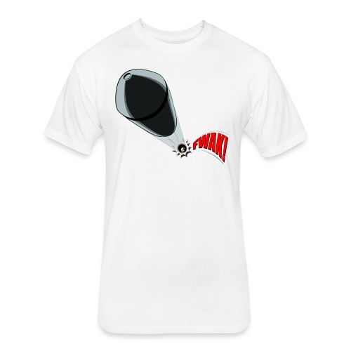 Gunshot, 3D comicbook, bullet hole, chest t-shirt - Fitted Cotton/Poly T-Shirt by Next Level
