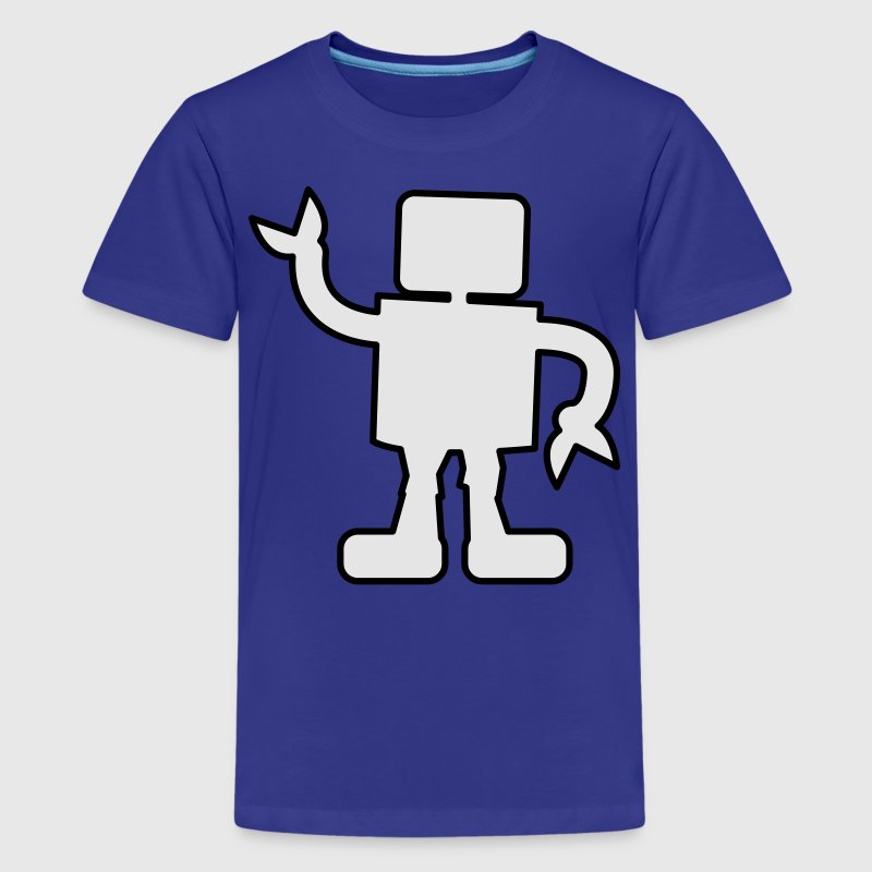 Turquoise robot outline two color sabotage Kids' Shirts - Kids' Premium T-Shirt