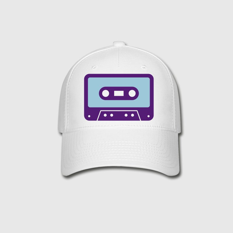 White retro cassette Caps - Baseball Cap