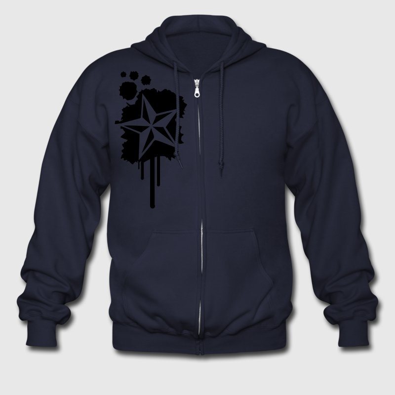 Ash  Nautical Star Graffiti Paint Splatter Zip Hoodies/Jackets - Men's Zip Hoodie