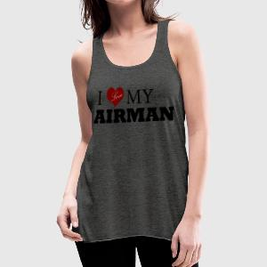 Deep heather Love my AIRMAN Women's T-Shirts - Women's Flowy Tank Top by Bella