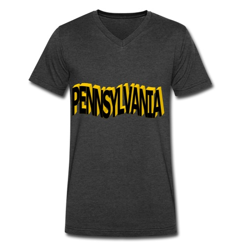 Pennsylvania Black and New Gold Tie Dye Tee - Men's V-Neck T-Shirt by Canvas