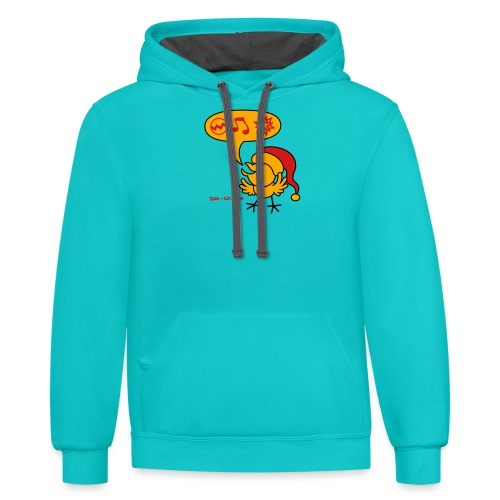 Christmas Chicken making a Wish! - Contrast Hoodie