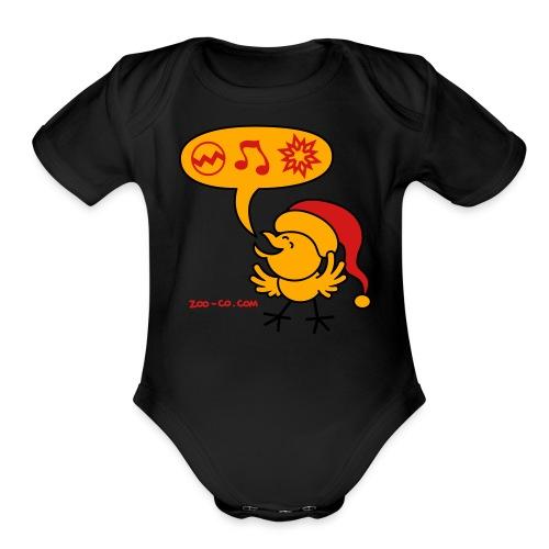 Christmas Chicken making a Wish! - Organic Short Sleeve Baby Bodysuit