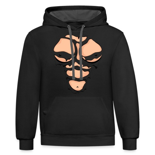 Ripped Muscles Female, chest T-shirt, comicbook breasts - Contrast Hoodie