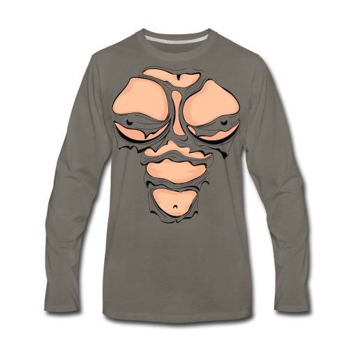 Ripped Muscles Female, chest T-shirt, comicbook breasts - Men's Premium Long Sleeve T-Shirt