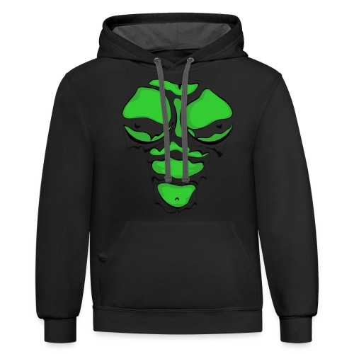 Ripped Muscles Female Green, chest T-shirt, comicbook breasts - Contrast Hoodie