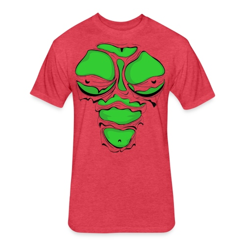 Ripped Muscles Female Green, chest T-shirt, comicbook breasts - Fitted Cotton/Poly T-Shirt by Next Level