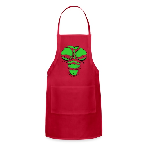 Ripped Muscles Female Green, chest T-shirt, comicbook breasts - Adjustable Apron