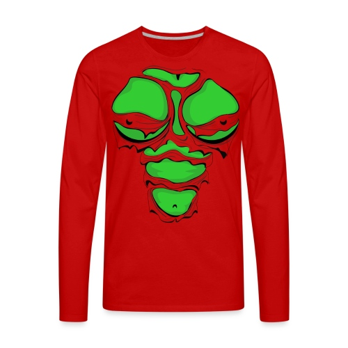 Ripped Muscles Female Green, chest T-shirt, comicbook breasts - Men's Premium Long Sleeve T-Shirt