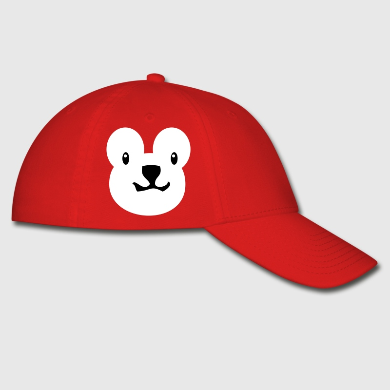 Red teddy bear face alone with really cute nose Caps - Baseball Cap