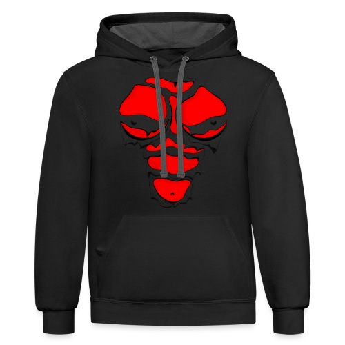 Ripped Muscles Female Red, chest T-shirt, comicbook breasts - Contrast Hoodie