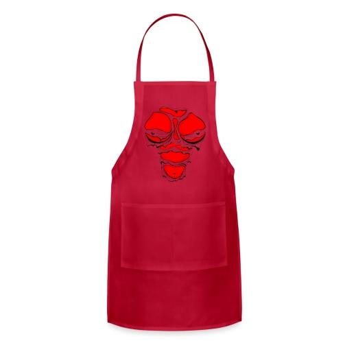 Ripped Muscles Female Red, chest T-shirt, comicbook breasts - Adjustable Apron