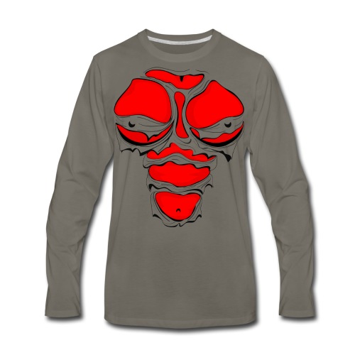 Ripped Muscles Female Red, chest T-shirt, comicbook breasts - Men's Premium Long Sleeve T-Shirt