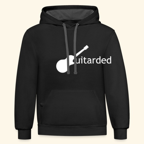 'Guitarded' shirt with vertical 'Guitarded' design  - Contrast Hoodie