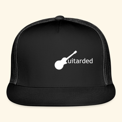 'Guitarded' shirt with vertical 'Guitarded' design  - Trucker Cap