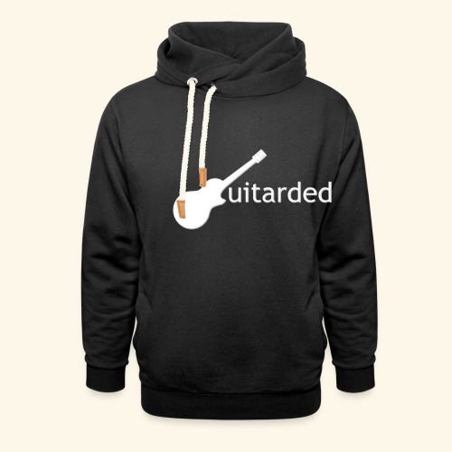 'Guitarded' shirt with vertical 'Guitarded' design  - Shawl Collar Hoodie