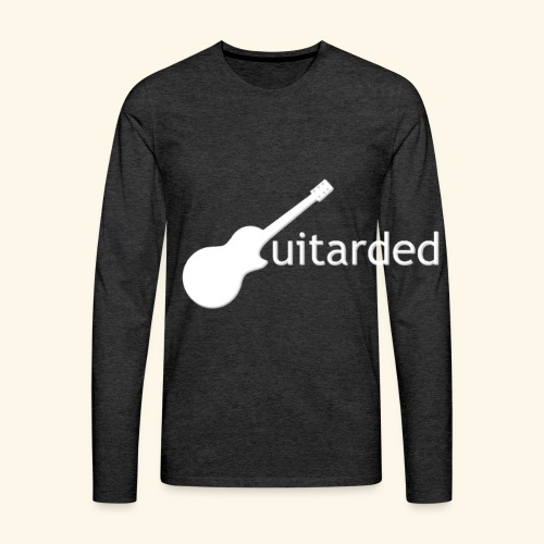 'Guitarded' shirt with vertical 'Guitarded' design  - Men's Premium Long Sleeve T-Shirt