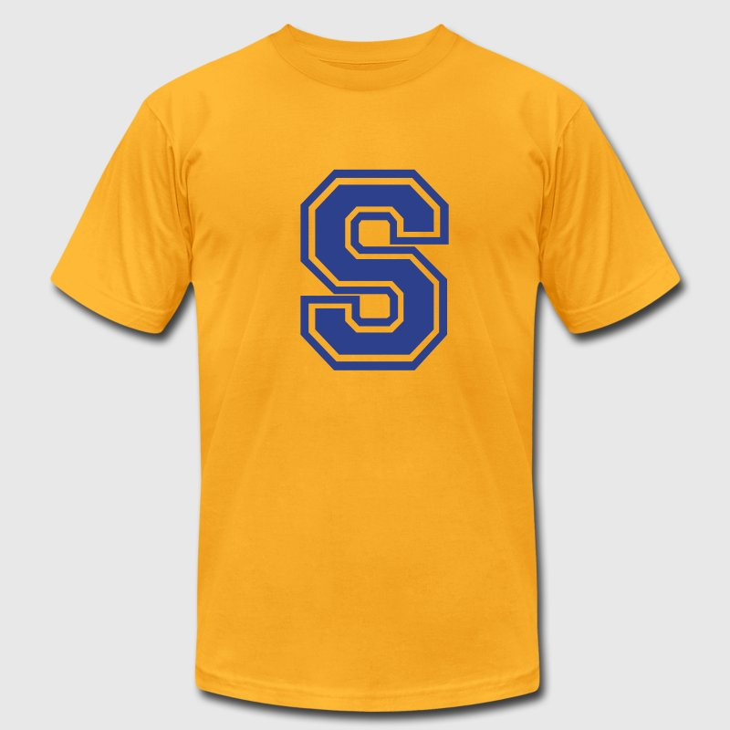 Gold Letter S T-Shirts - Men's T-Shirt by American Apparel