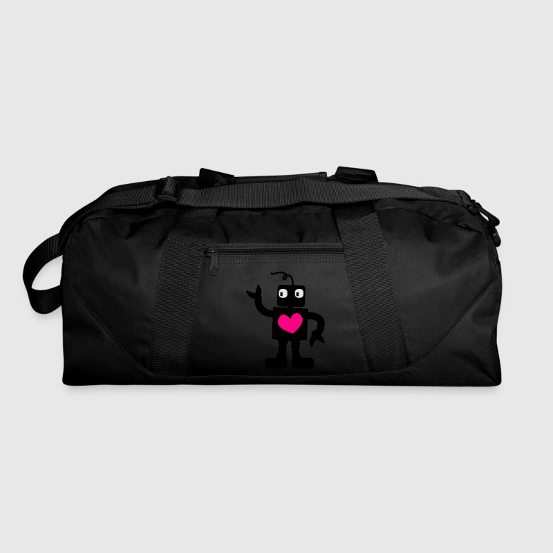 Dark red robot cute with love heart Bags  - Duffel Bag