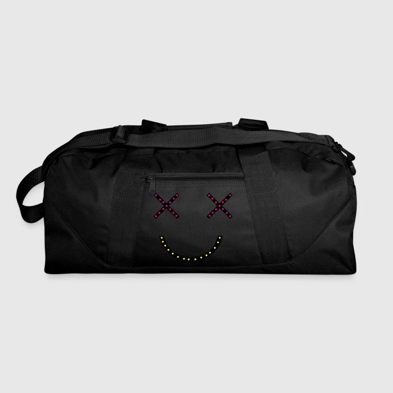 Dark red CRAZY HAPPY MAN two crosses dead cartoon eyes with creepy smile and jewels Bags  - Duffel Bag