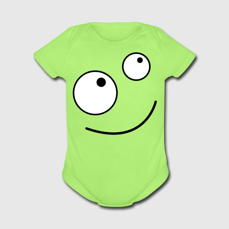 Mint green CUTE CARTOON FACE LOOKING UP Baby Body - Short Sleeve Baby Bodysuit