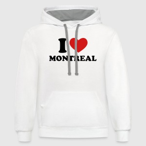 White I Love Montreal Women's T-Shirts - Contrast Hoodie