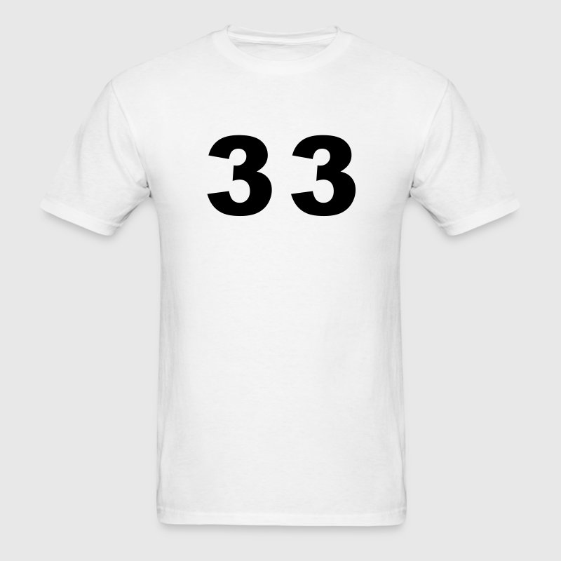 White Number - 33 - Thirty Three T-Shirts - Men's T-Shirt
