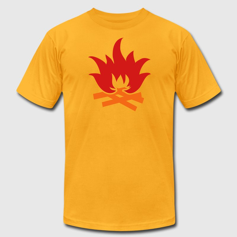 Gold NEON campfire camping fire scouts design T-Shirts - Men's T-Shirt by American Apparel