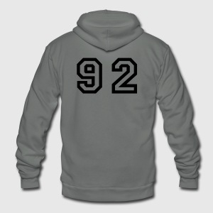 White Number - 92 - Ninety Two T-Shirts - Unisex Fleece Zip Hoodie by American Apparel