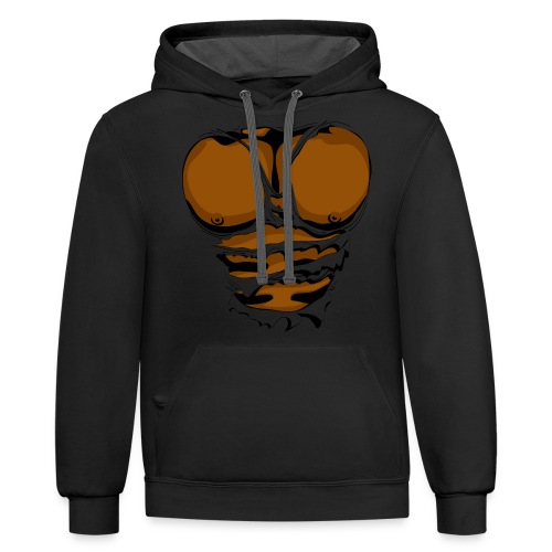 Ripped Muscles, six pack, chest T-shirt - Contrast Hoodie