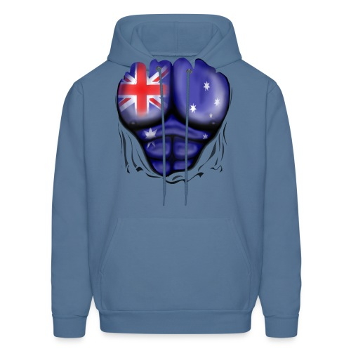 Australia Flag Ripped Muscles, six pack, chest t-shirt - Men's Hoodie