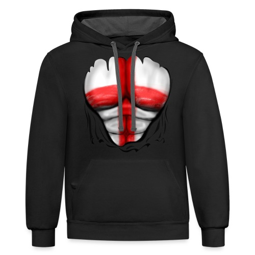 England Flag Ripped Muscles, six pack, chest t-shirt - Contrast Hoodie