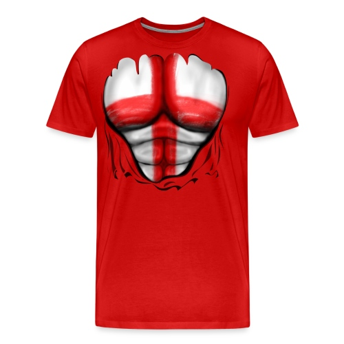 England Flag Ripped Muscles, six pack, chest t-shirt - Men's Premium T-Shirt