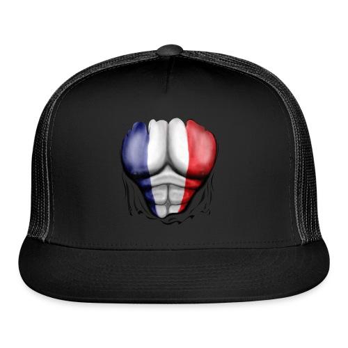 France Flag Ripped Muscles, six pack, chest t-shirt - Trucker Cap