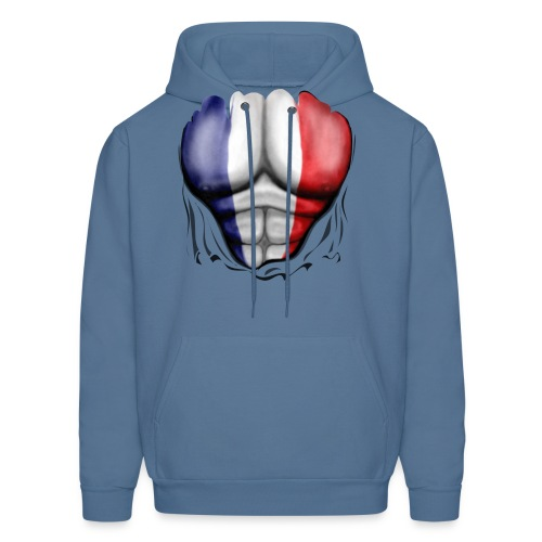 France Flag Ripped Muscles, six pack, chest t-shirt - Men's Hoodie