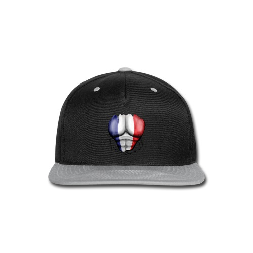 France Flag Ripped Muscles, six pack, chest t-shirt - Snap-back Baseball Cap