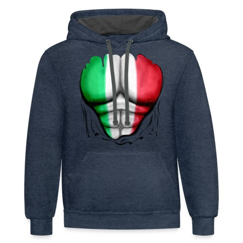 Italy Flag Ripped Muscles, six pack, chest t-shirt - Contrast Hoodie