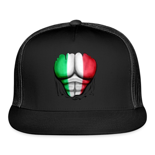 Italy Flag Ripped Muscles, six pack, chest t-shirt - Trucker Cap