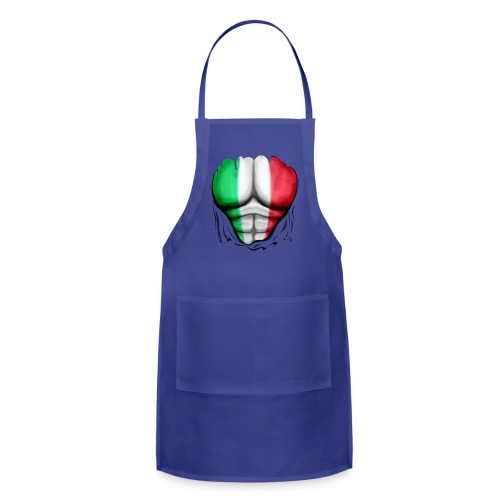 Italy Flag Ripped Muscles, six pack, chest t-shirt - Adjustable Apron