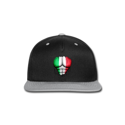Italy Flag Ripped Muscles, six pack, chest t-shirt - Snap-back Baseball Cap