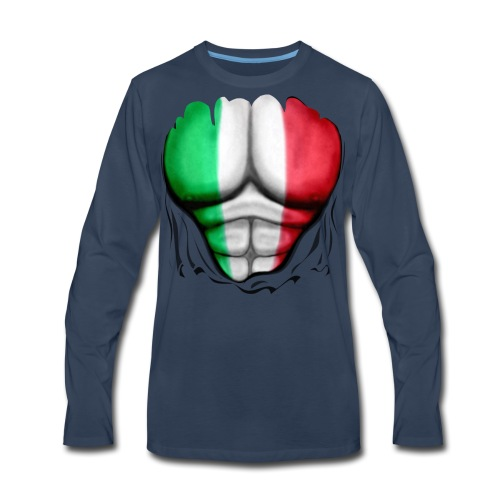 Italy Flag Ripped Muscles, six pack, chest t-shirt - Men's Premium Long Sleeve T-Shirt