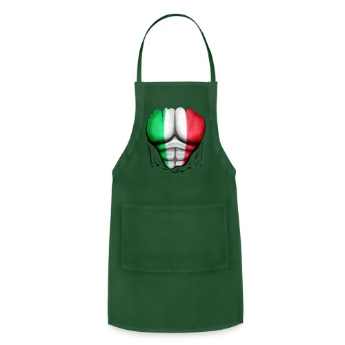 Mexico Flag Ripped Muscles, six pack, chest t-shirt - Adjustable Apron