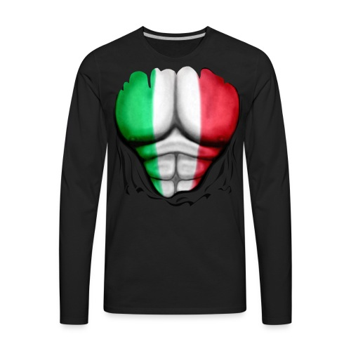 Mexico Flag Ripped Muscles, six pack, chest t-shirt - Men's Premium Long Sleeve T-Shirt